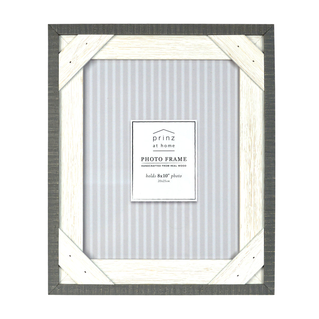 Prinz Crosshatch 8 x 10 Wood Picture Frame, Gray-White