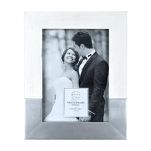 Load image into Gallery viewer, Prinz Wedding 5 x 7-inch Two-Tone Picture Frame, White-Silver