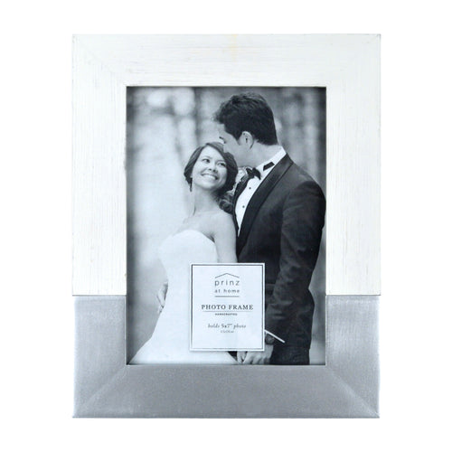 Prinz Wedding 5 x 7-inch Two-Tone Picture Frame, White-Silver