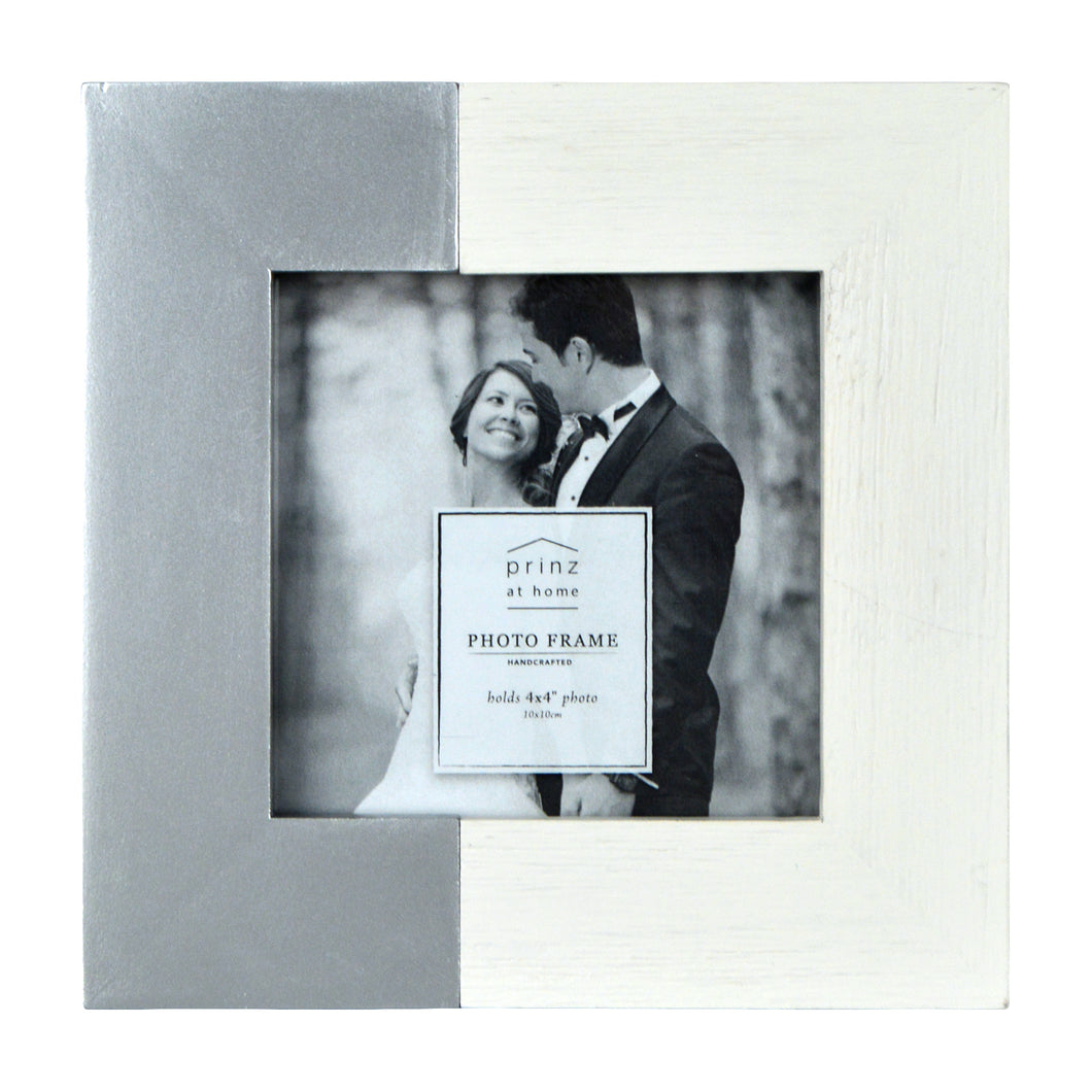 Prinz Wedding 4 x 4-inch Two-Tone Picture Frame, White-Silver