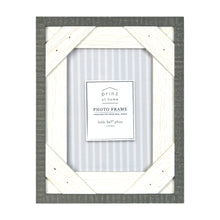 Load image into Gallery viewer, Prinz Reclaimed Gray White 5 X 7 Crosshatch Wood Picture Frame