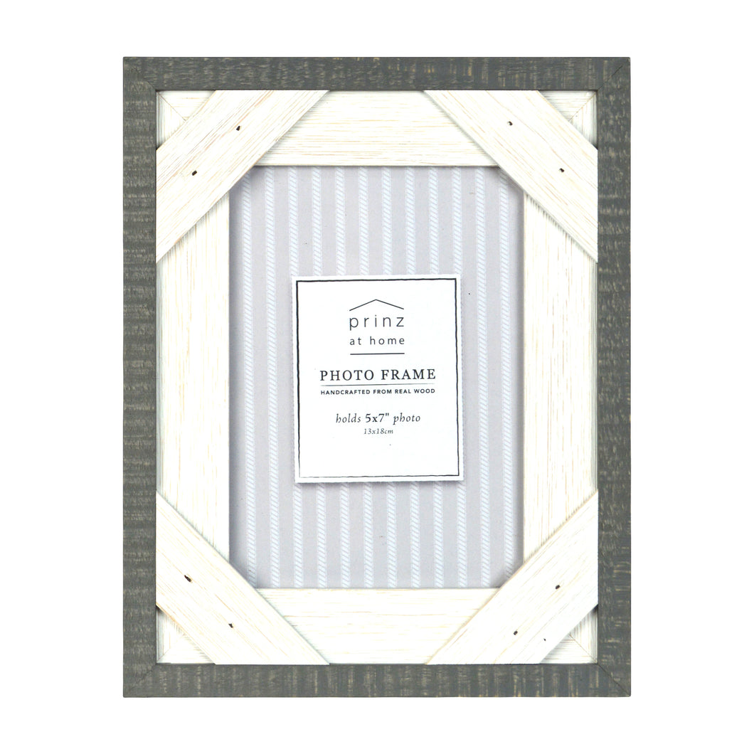 Prinz Reclaimed Gray White 5 X 7 Crosshatch Wood Picture Frame
