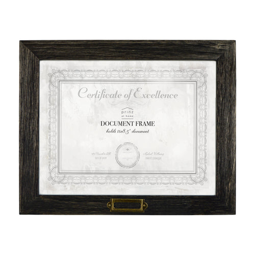 Cottage 11 x 8.5 Black Molded Wood Grain Document Frame