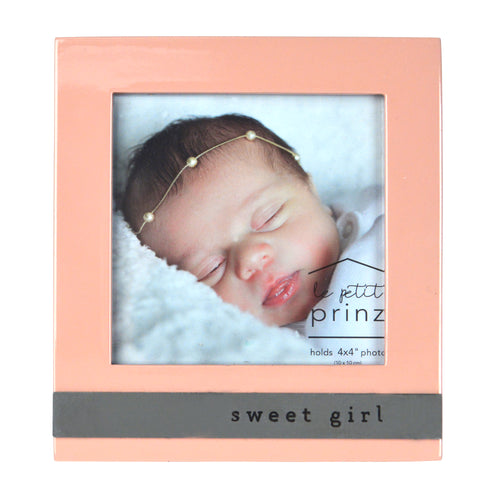 Sweet Girl 4 x 4-inch Sentiment Baby Picture Frame, Rose Pink
