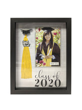 Load image into Gallery viewer, 4-inch by 6-inch Photo Opening Class of 2020 Tassel Holder Picture Frame Crosshatch Background