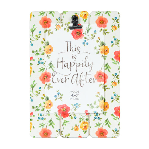 Lisa Audit White Floral Planked Praire Clip Picture Frame