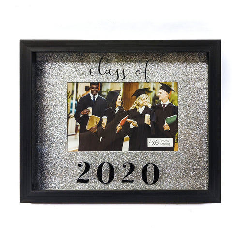 Graduation Picture Frame 4-inch by 6-inch Photo Opening Class of 2020 Silver Glitter Background Shadowbox Frame