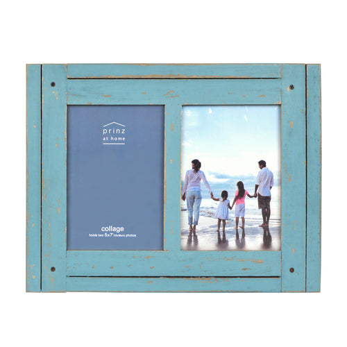 Homestead Collage 5-inch by 7-inch Picture Frame for Two Photos, Distressed Blue