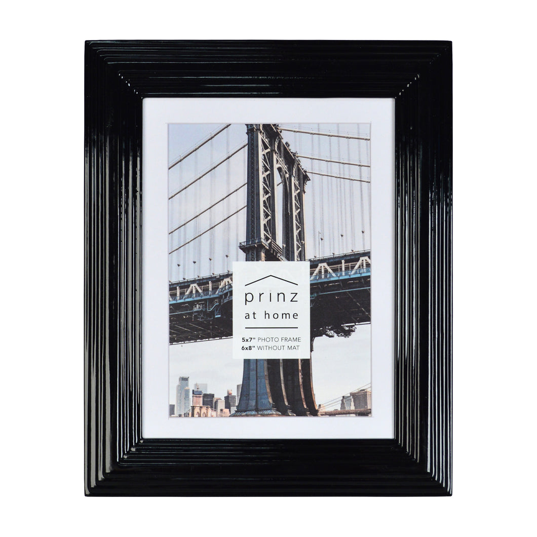 Midtown High Gloss Black 5 x 7 Molded Modern Frame