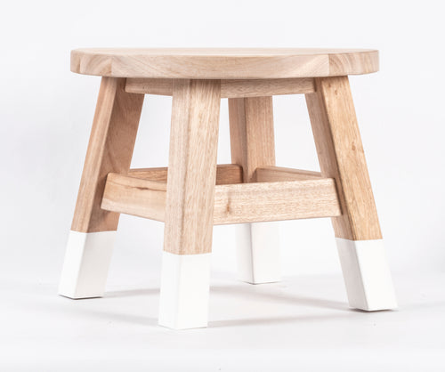 12-inch by 12-inch Natural Wood Round Stool with White Accent Legs