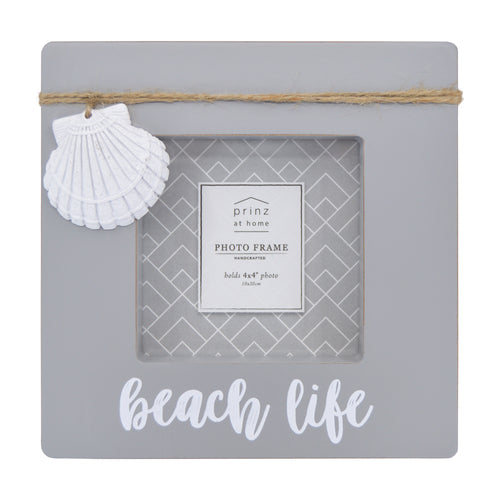 Beach Life Distressed Gray 4-inch by 6-inch Shadow Box Picture Frame