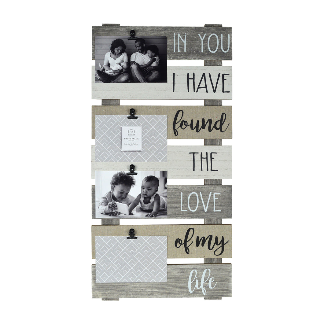 Love of My Life Plank Collage Photo Display with Linen, Rustic Metal Clips