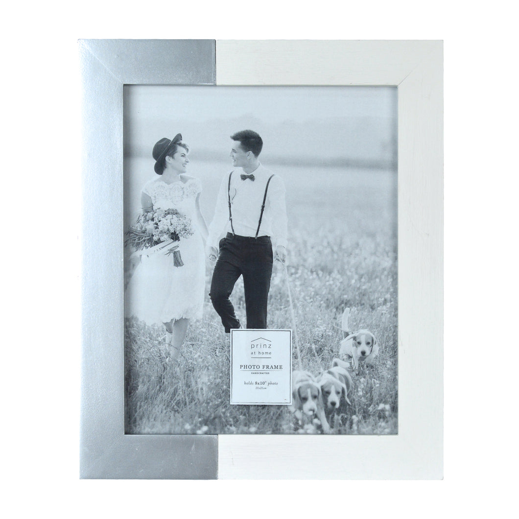 Prinz Wedding 8 x 10-inch Two-Tone Picture Frame, White-Silver