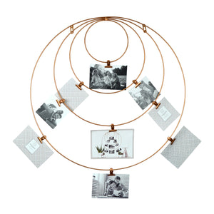 Hanging Metal Wire Collage Circular Wall Display, 9 Clips