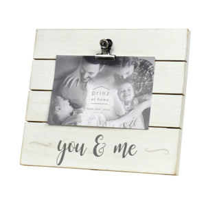 "Plank Sentiment ""You & Me"" 4-inch by 6-inch Clip Picture Frame, White"