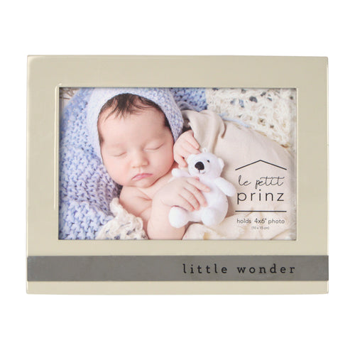 Little Wonder Sentiment 6 x 4-inch Baby Picture Frame, Glossy Taupe
