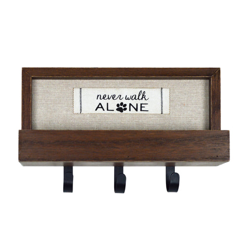 Never Walk Alone Decorative Plaque with 3 Wall Hooks