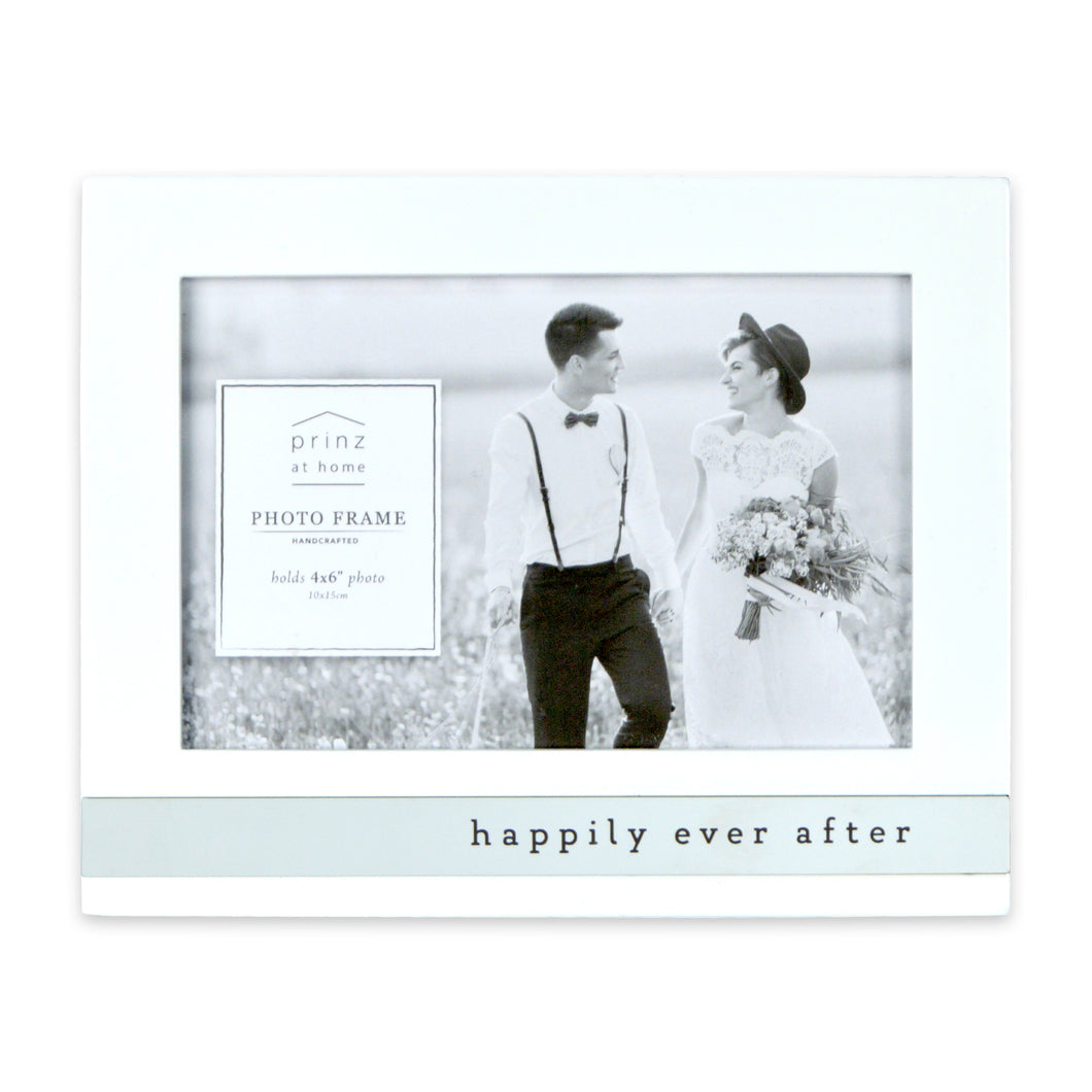 Happily Ever After Metal Band Horizontal Glossy Picture Frame