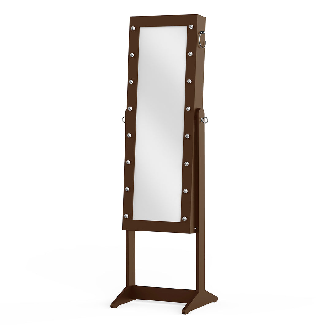 Prinz Brown Jewelry Organizer Cabinet Armoire, with Lighted Mirror