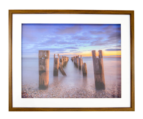 Prinz Framed Shadowbox Behind Glass with Mat Sunset Shore Coastal Wall Art