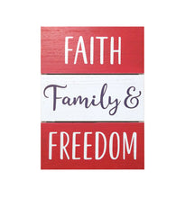 Load image into Gallery viewer, Prinz Patriotic Plank Tabletop Box Sign Faith Family & Freedom