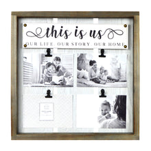 Load image into Gallery viewer, This is Us Plank Framed Collage Photo Display, 4 Clips