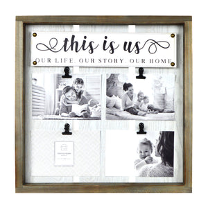 This is Us Plank Framed Collage Photo Display, 4 Clips