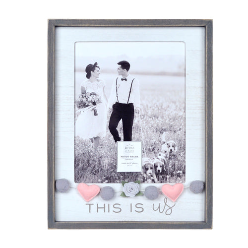 Wedding This Is Us Embellished Felt Hearts 8 x 10-inch Boxed Picture Frame