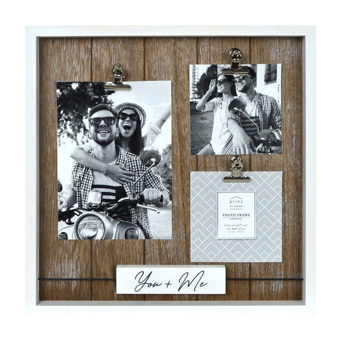 Prinz You & Me 3 Photo Collage Frame with Clips and Wood Sentiment Block