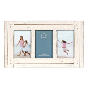 Homestead Collage 4-inch by 6-inch Picture Frame for Three Photos, Distressed White