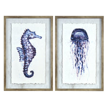 Load image into Gallery viewer, Prinz Ava Barrett Set of 2 Framed Seahorse & Jellyfish Wall Art