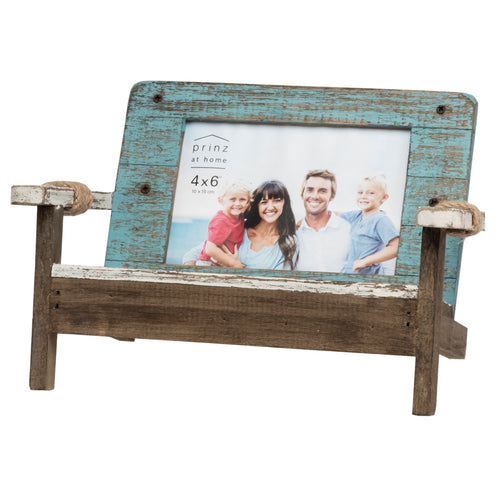 Homestead Wooden Bench Picture Frame for 4-Inch by 6-Inch Photos, Blue