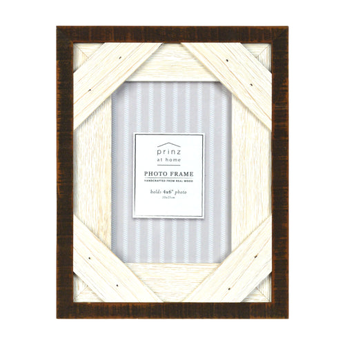 Prinz Reclaimed Walnut White 4 X 6 Crosshatch Wood Picture Frame