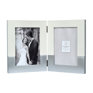 Prinz Wedding 5 x 7-inch Two-Tone Double Picture Frame, White-Silver