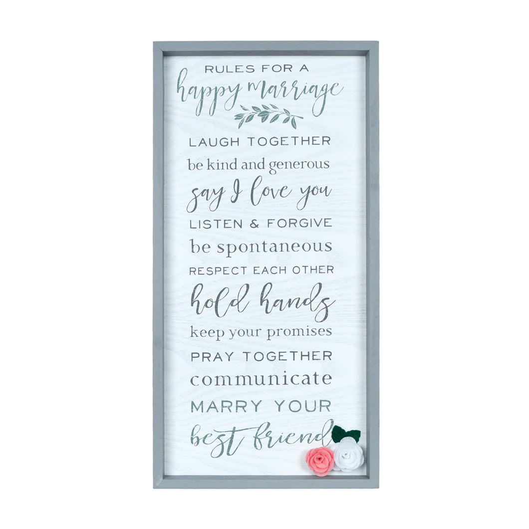 Marriage Rules Box Framed White Washed Wall Plaque
