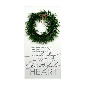 "New View Studio 18""x 36"" Begin Each Day Wood Box with Faux Greenery Wall Art"