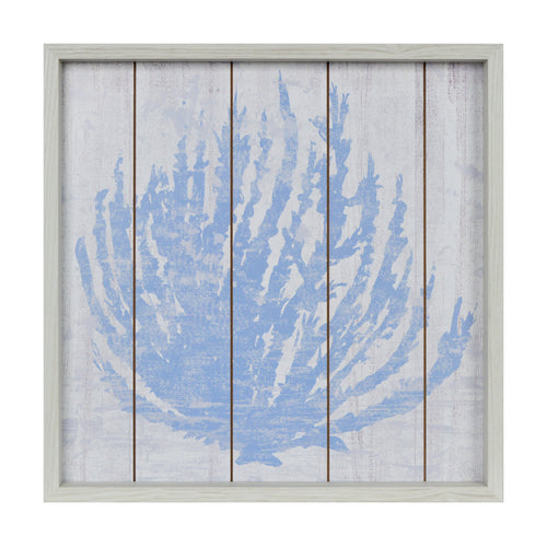 Prinz Coastal Coral Decoupage Framed Wall Art with Routes Blue, White