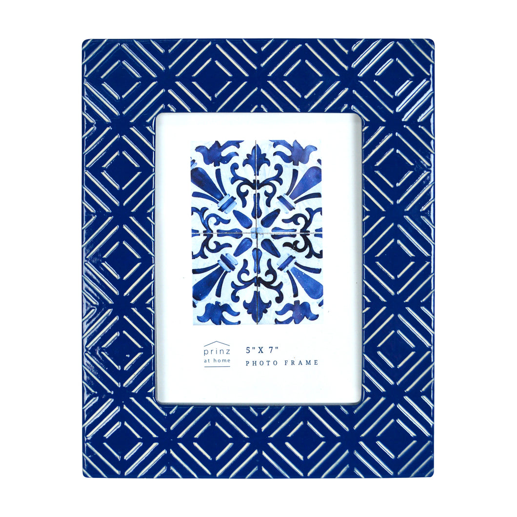 Mixed & Mingled 5 x 7 Embossed Picture Frame, Dark Blue