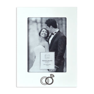 Wedding Ring Embellished 5 x 7-inch White Picture Frame
