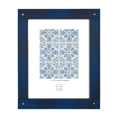 Mixed & Mingled 11 x 14 Reclaimed Wood Picture Frame, Indigo Blue