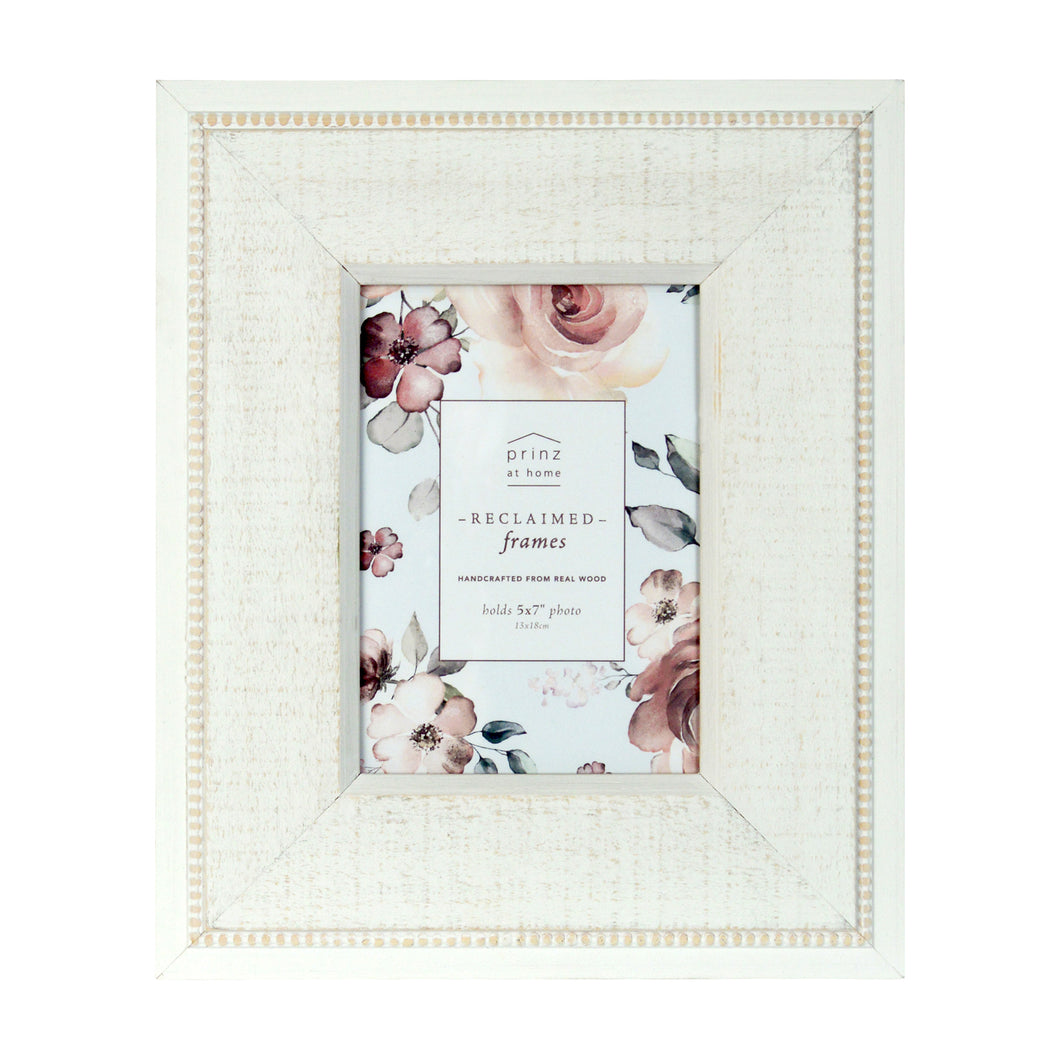 Prinz Beaded White 5 x 7-inch Wood Picture Frame
