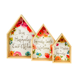 Lisa Audit Decorative Wooden Nesting Houses Family Signs, Floral