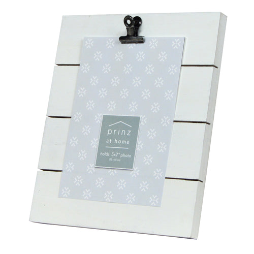 Plank 5-inch by 7-inch Clip Picture Frame, White
