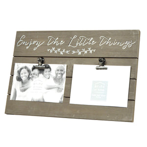 "Plank Sentiments Clip Collage Picture Frame ""Enjoy The Little Things"" for Two 4-inch by 6-inch Photos, Brown"