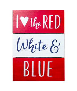 Prinz Patriotic Plank Tabletop Box Sign Heart the Red White and Blue