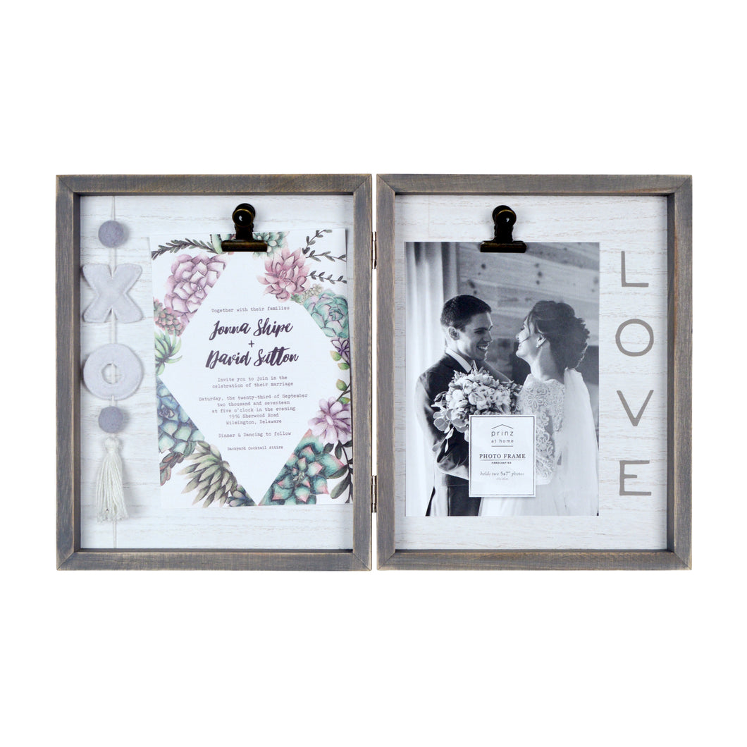 Love Embellished Felt XO Hinged Tabletop Double Picture Frame