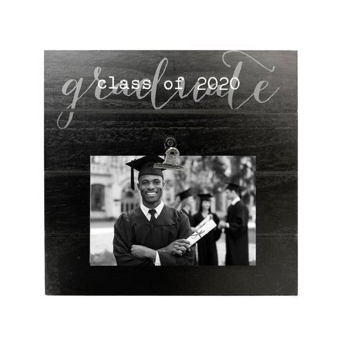 Class of 2020 Shiplap Clip Graduation Picture Frame 9-inches by 9-inches Black