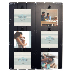 Prairie Clip Collage Picture Frame for Six 4-inch by 6-inch Photos, Black