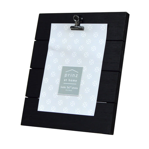 Plank 5-inch by 7-inch Clip Picture Frame, Black