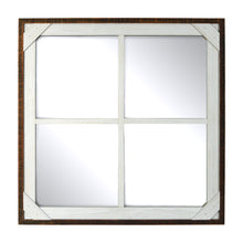 Load image into Gallery viewer, Prinz Crosshatch Wood Framed Multi-Pane Mirror, Walnut-White